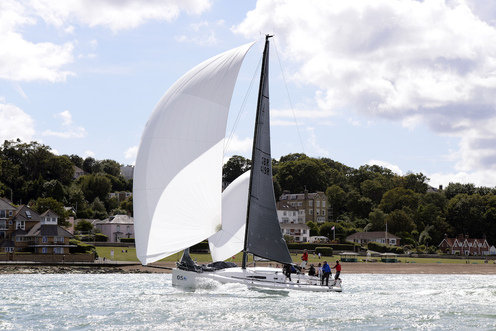 Black Dog approaching the finish line at Royal Yacht Squadron during the J-111 World Championships